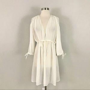 Oscar de La Renta XL Chiffon Robe Lingerie Ivory White